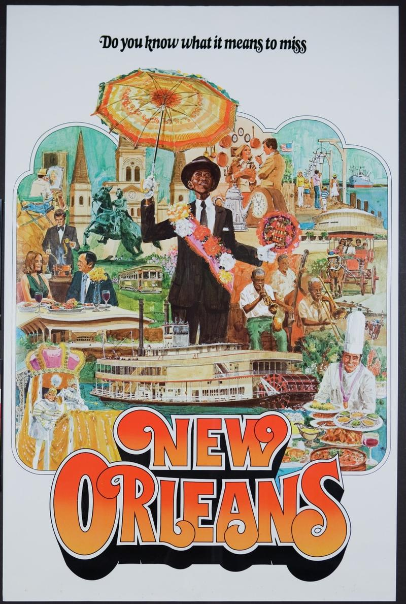 Caption: Poster showing vignette of New Orleans, Credit:  Historic New Orleans Collection; Gift of Michael Adler [2008.0038.15]