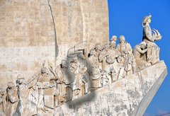 Caption: Gomes de Zurara, the Portuguese inventor of blackness (and whiteness), highlighted, on The Monument to the Discoveries in Lisbon, Portugal. , Credit: Harvey Barrison