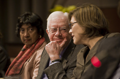 Caption: Former President Jimmy Carter with Carter Center Human Rights Director Karin Ryan, Credit: The Carter Center