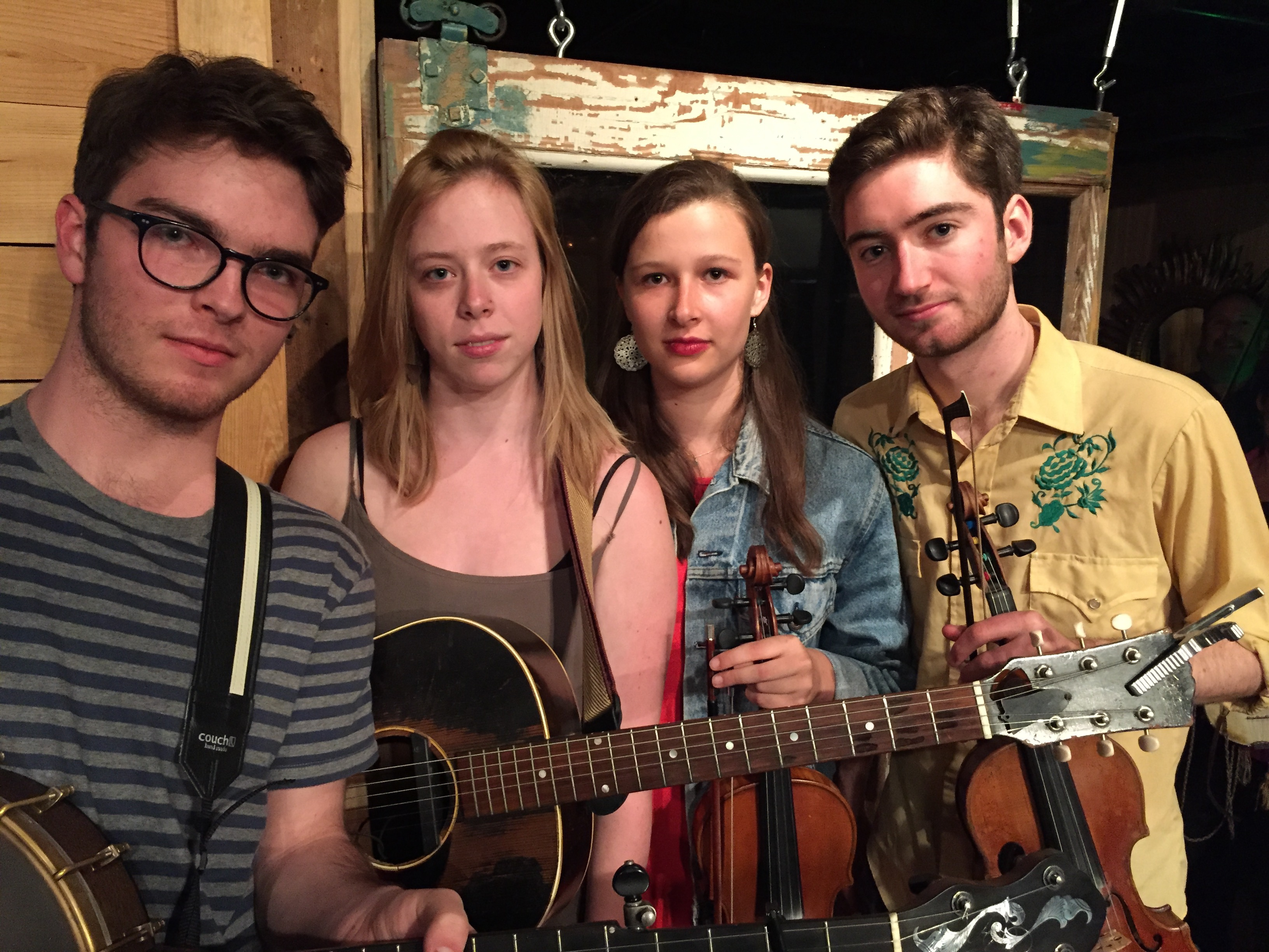 Caption: The Onlies (L-R Leo Shannon, Vivian Leva, Sami Braman, Riley Calcagno) bring great skill, creativity, and a deep love of tradition to their interpretation of traditional music and their own new songs and tunes.  Their May, 2017 concert at Muddy Creek Musi, Credit: Paul Brown