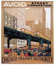 "Caption: Chicago ""L"" Transit 1920s poster"