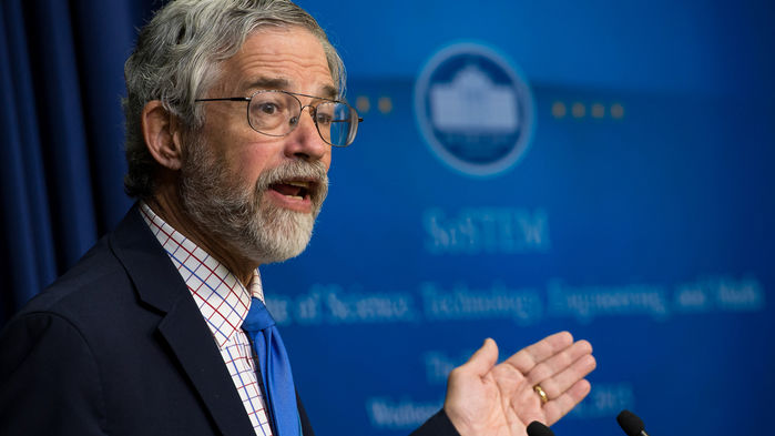 Caption: John Holdren speaks on science at the White House in 2015., Credit: NASA/Bill Ingalls/Flickr