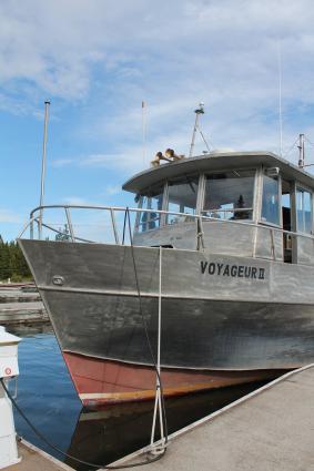 Caption: The Voyageur II docked at Rock Harbor, Isle Royale