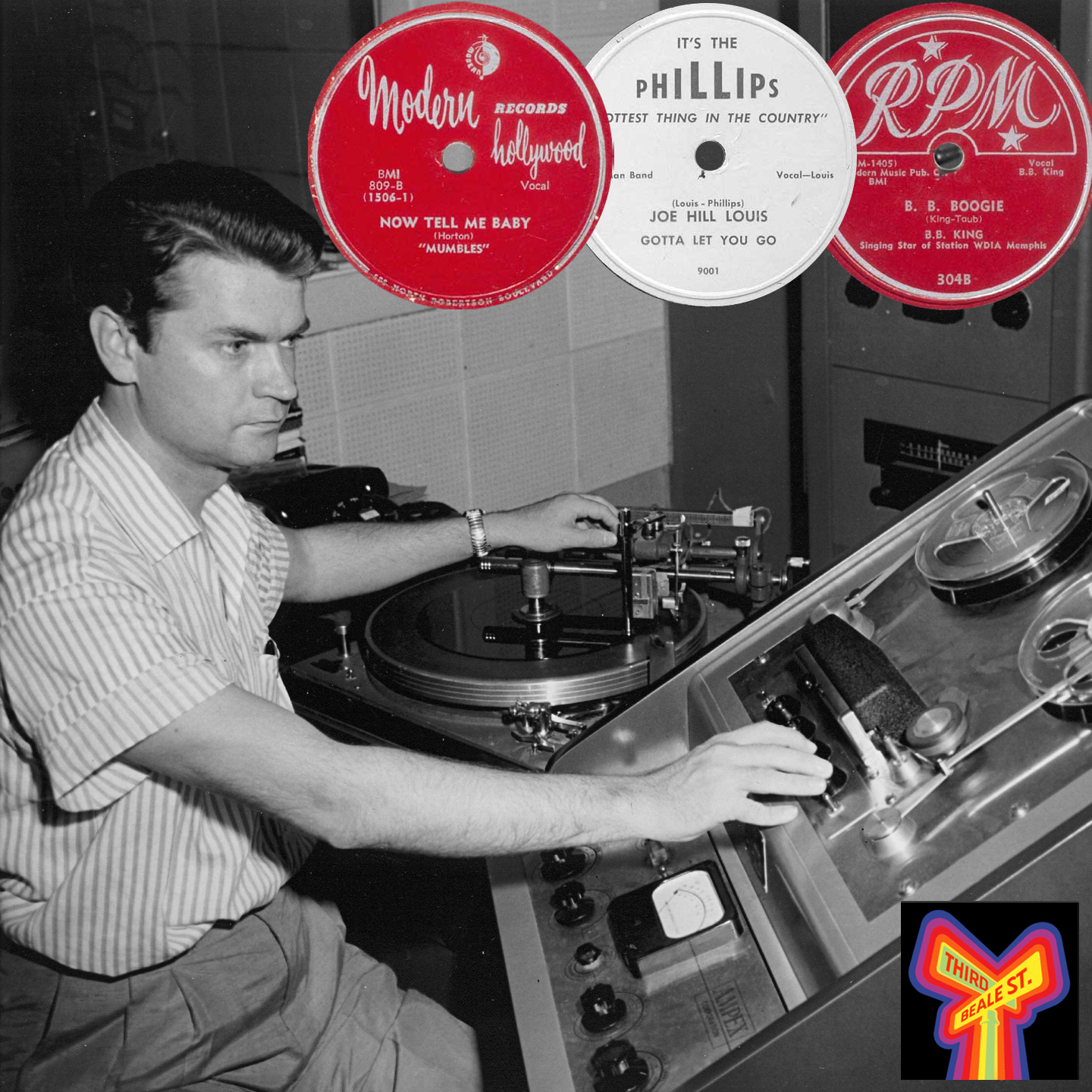 Caption: The man at the controls, Sam Phillips; Inset: some early releases produced by Phillips.