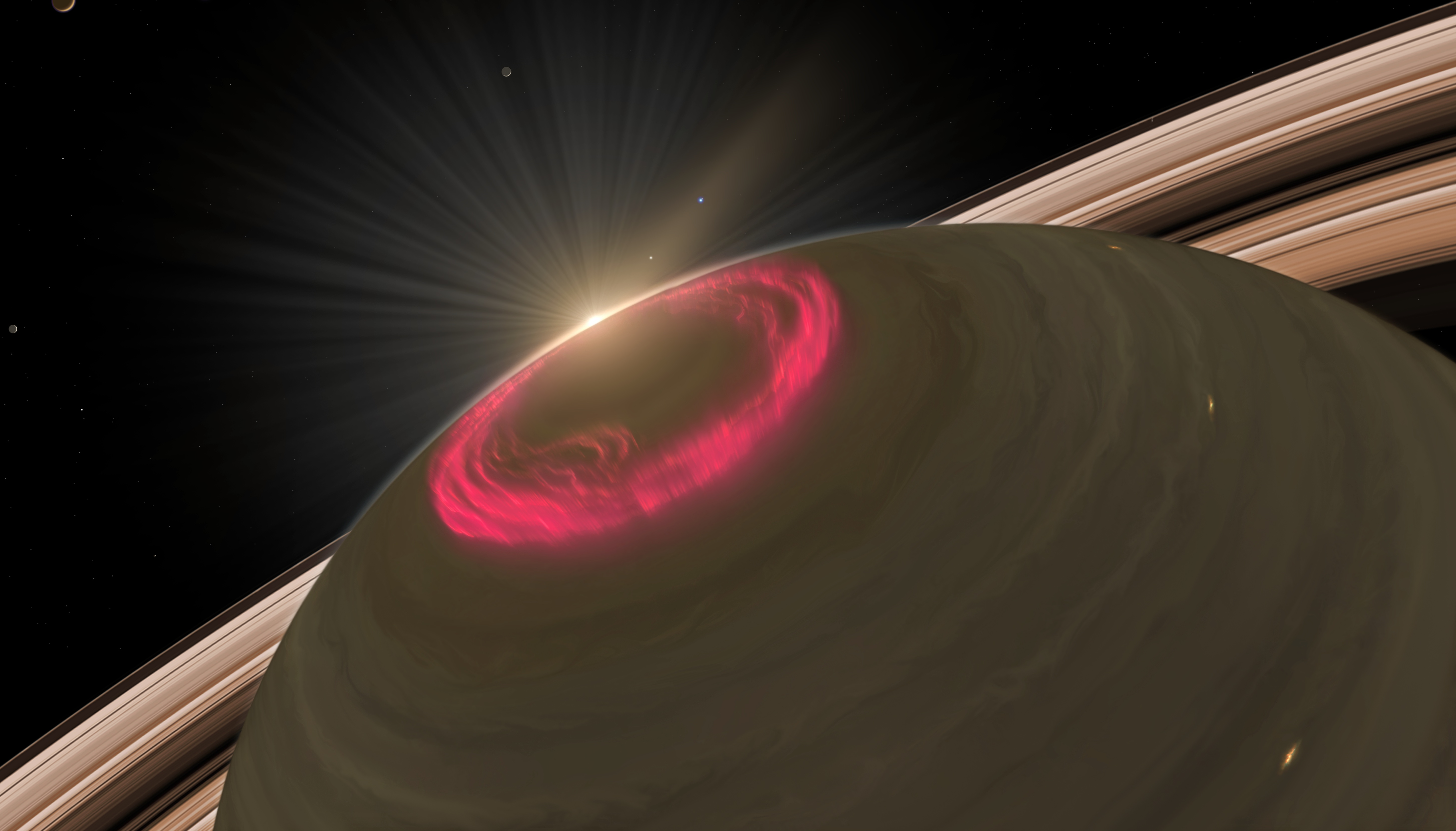 Caption: The winter solstice gets tricky if your home planet has rings..., Credit: NASA