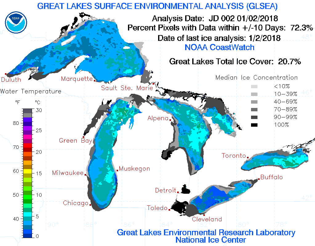 Caption: Current Great Lakes ice cover, Credit: NOAA GLERL
