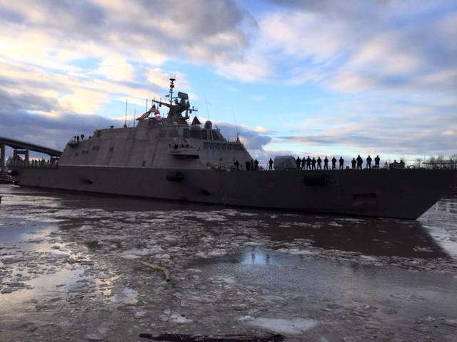 Caption:  The LCS 9 crew stands on deck to bid farewell to onlookers., Credit:  Marian Hetherly / WBFO News