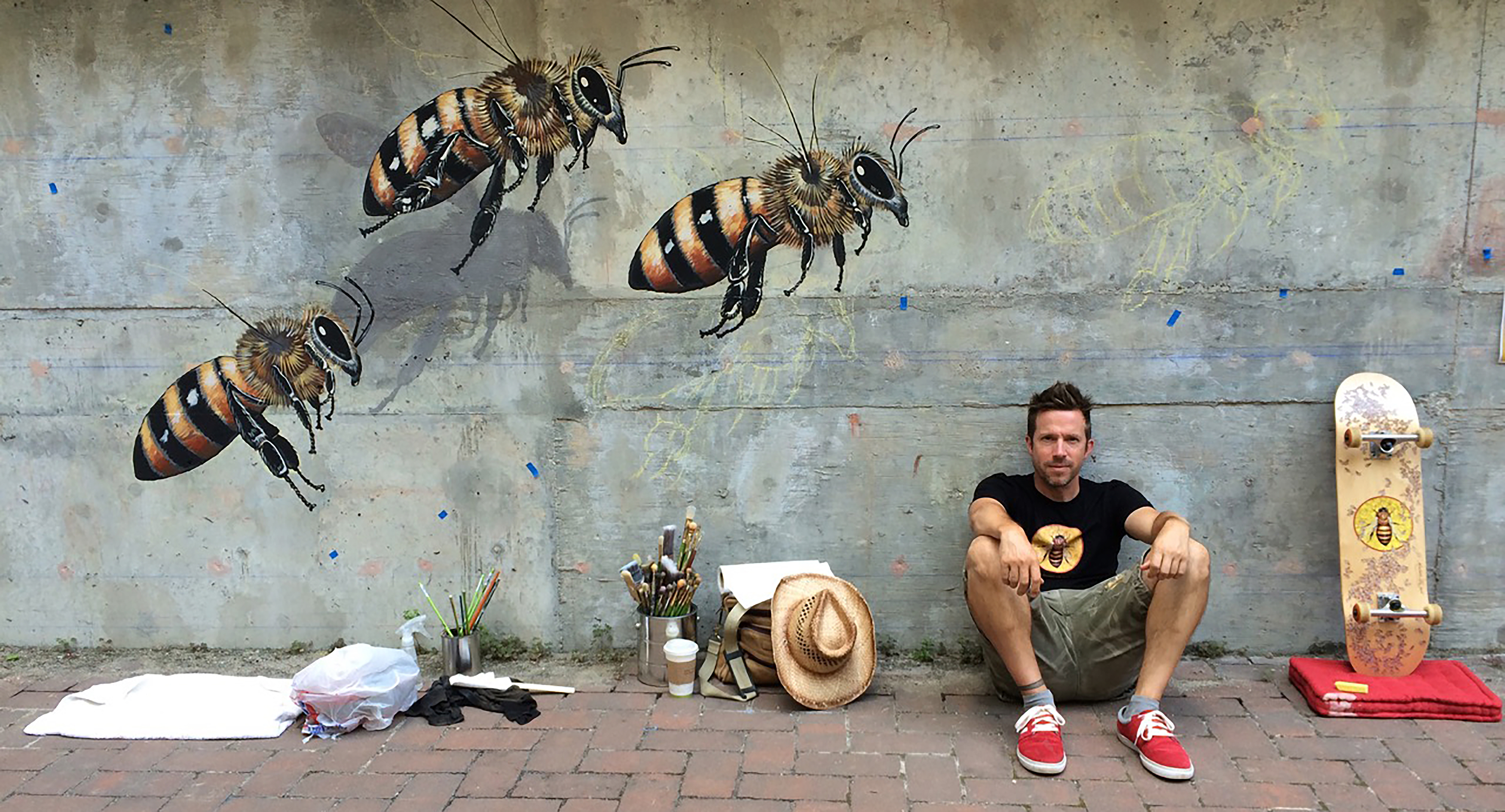 Caption: Matthew Willey and Bees, Credit: The Good of the Hive