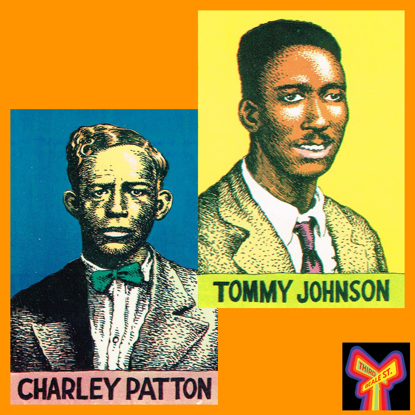 Caption: Pictured: Immortals of Mississippi blues, Charley Patton and Tommy Johnson. Illustrations by R. Crumb.