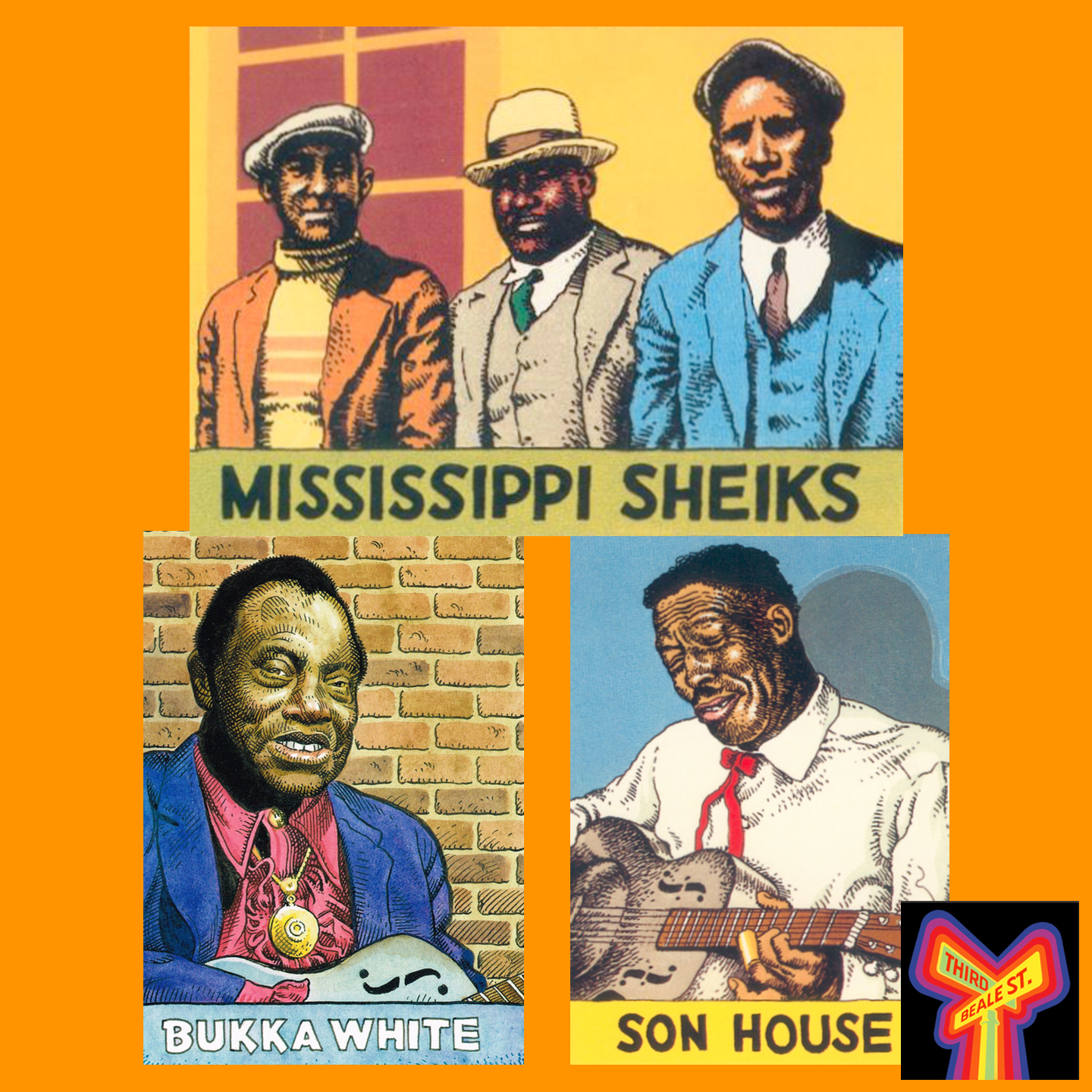 Caption: Pictured: Illustrations of the Mississippi Sheiks and Son House by R. Crumb. Bukka White by William Stout.