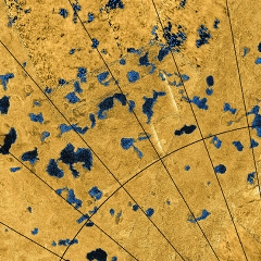 Caption: Radar images from NASA's Cassini spacecraft reveal many lakes on Titan's surface, some filled with liquid, and some appearing as empty depressions. The data were obtained by Cassini's radar instrument from 2004 to 2013., Credit: NASA / JPL-Caltech / ASI / USGS