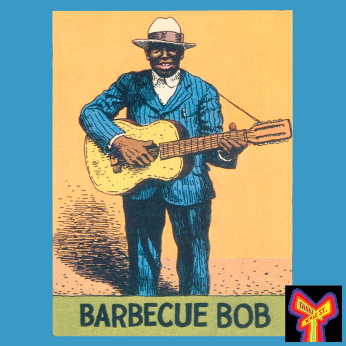 Caption: Like fellow Atlanta Bluesman Blind Willie McTell, Barbecue Bob preferred the big open sound of the 12-string guitar. Illustration by R. Crumb.