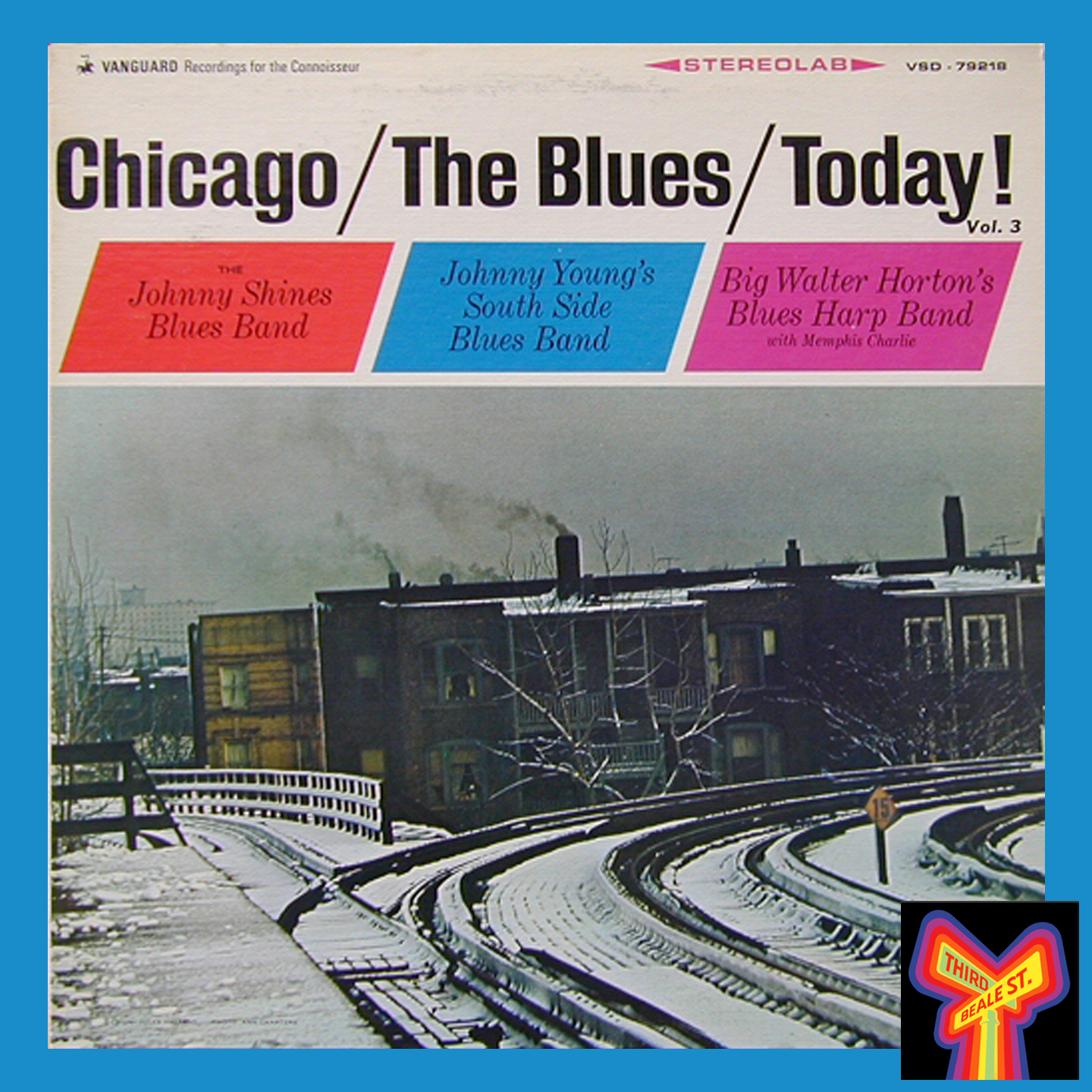 """Caption: The cover from """"Chicago/The Blues/Today!"""", featuring Ann Charters' iconic photo of winter snow on the El tracks."""
