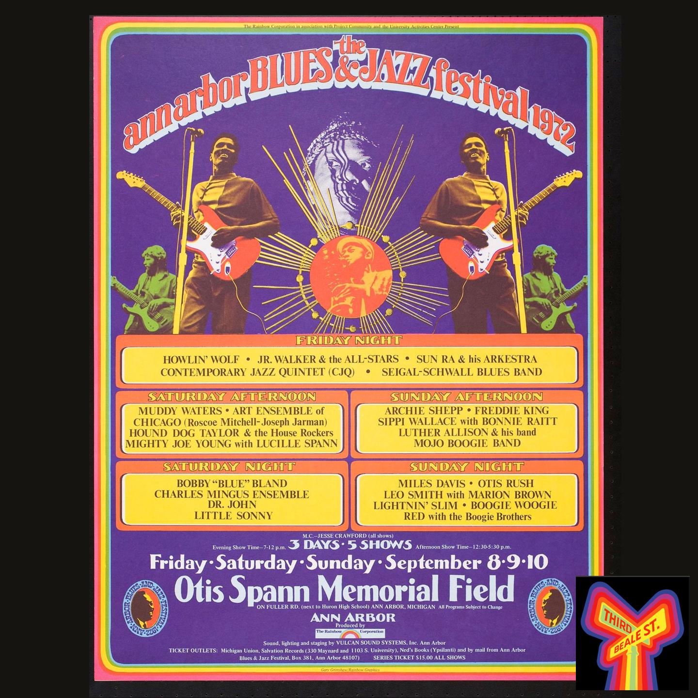 Caption: Poster for the 1972 Ann Arbor Blues & Jazz Festival.
