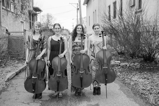 Caption: Delphia Cello Quartet, Credit: Kate WIlson
