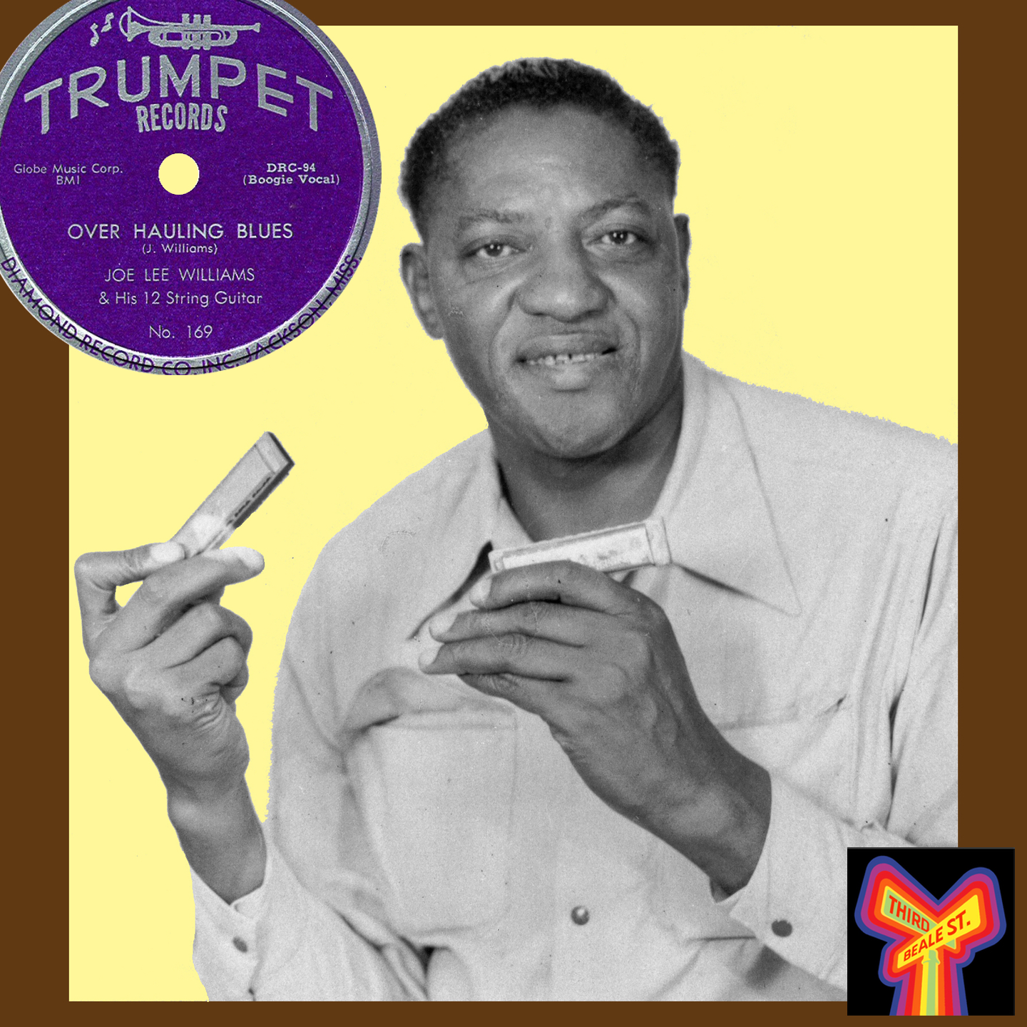 """Caption: Aleck """"Rice"""" Miller, better known as Sonny Boy Williamson #2, who helped get Trumpet Records off the ground. Photo courtesy of Bill Greensmith/Blues Unlimited Magazine. Inset: Trumpet's distinctive label design."""