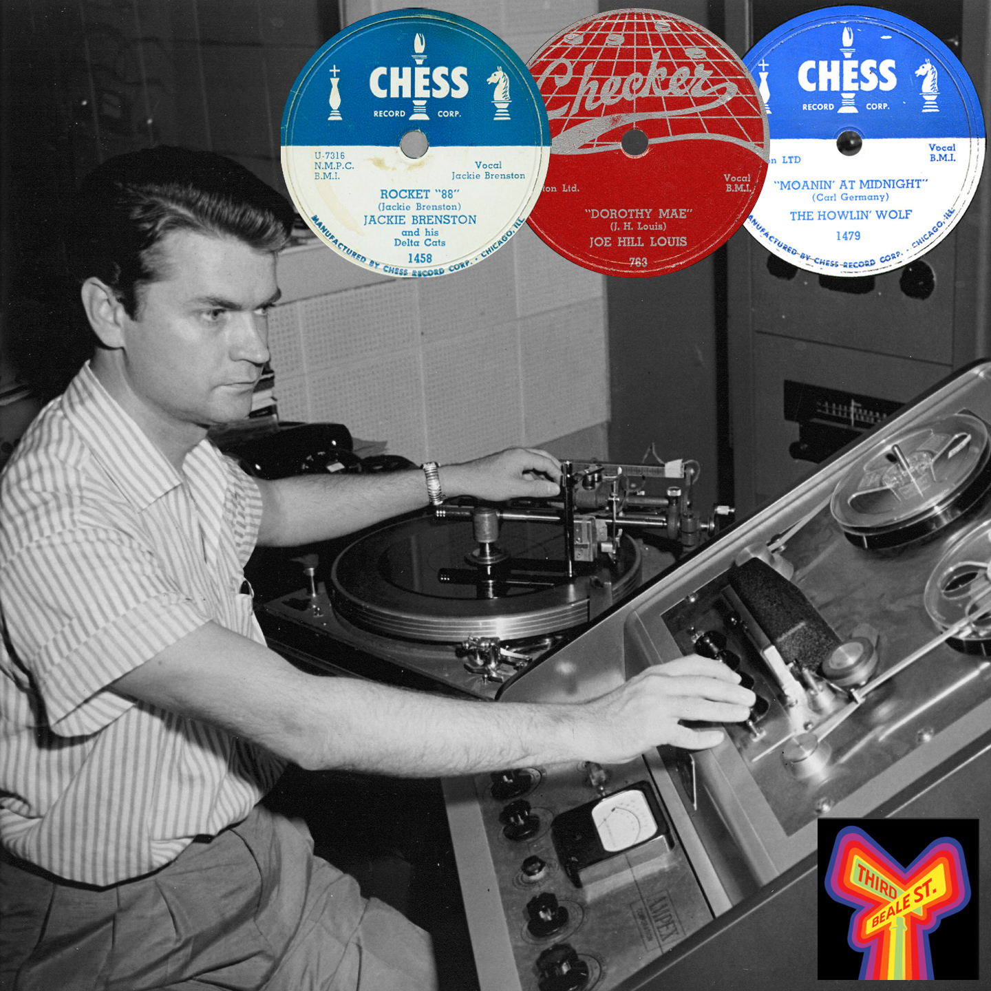 Caption: The man at the controls, Sam Phillips; Inset: some of the releases he produced for the Chess brothers.