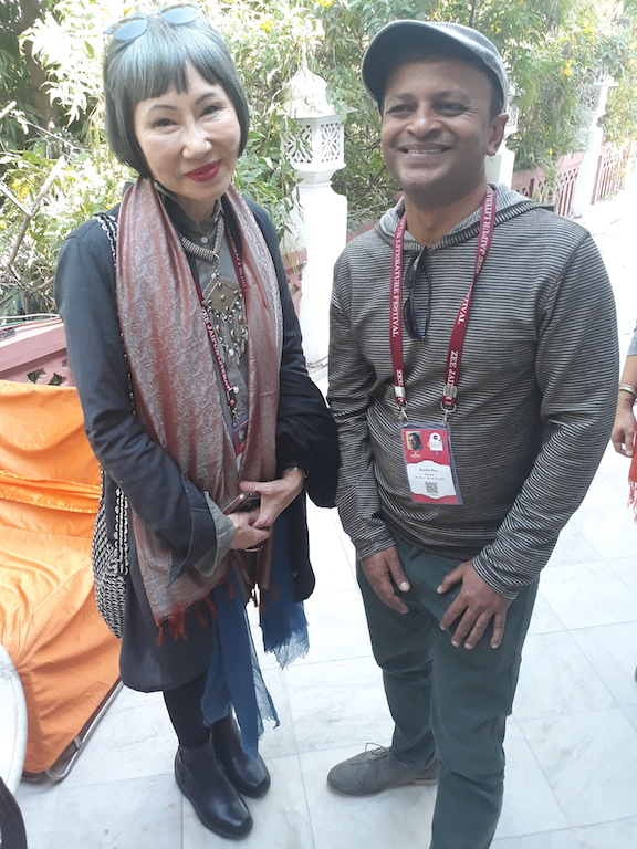 Caption: Amy Tan and Sandip Roy at the Jaipur Lit. Fest., Credit: Sandip Roy