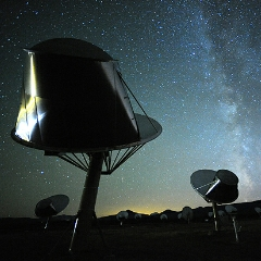 Caption: The SETI Institute's Allen Telescope Array in northern California searches the sky for radio signals from an alien intelligence., Credit: The SETI Institute