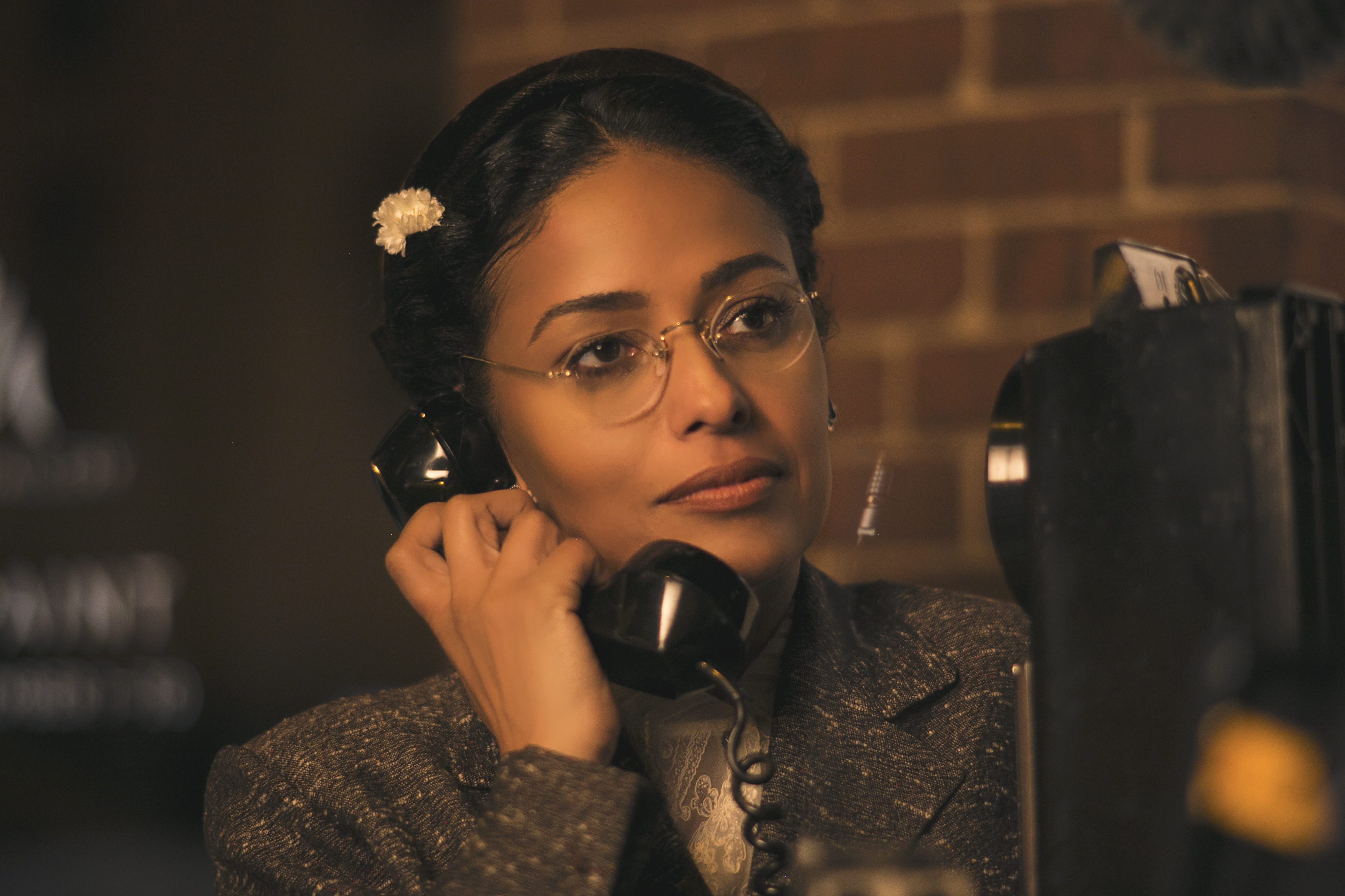 Caption: Meta Golding as Rosa Parks in Behind the Movement, Credit: Courtesy of TVOne