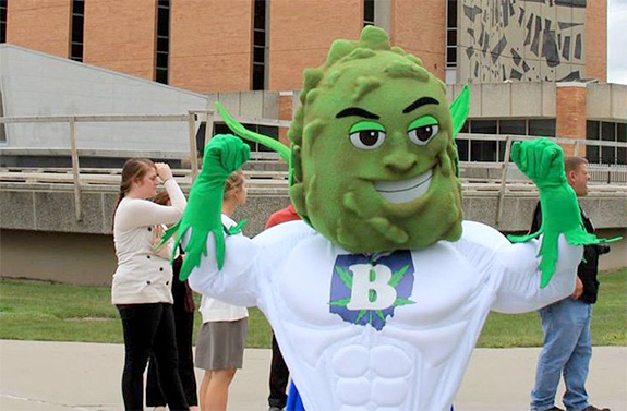 Caption: Buddie the marijuana mascot flexes his muscles for the camera., Credit: Responsible Ohio