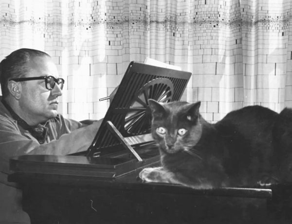 Caption: Composer Alberto Ginastera and feline friend