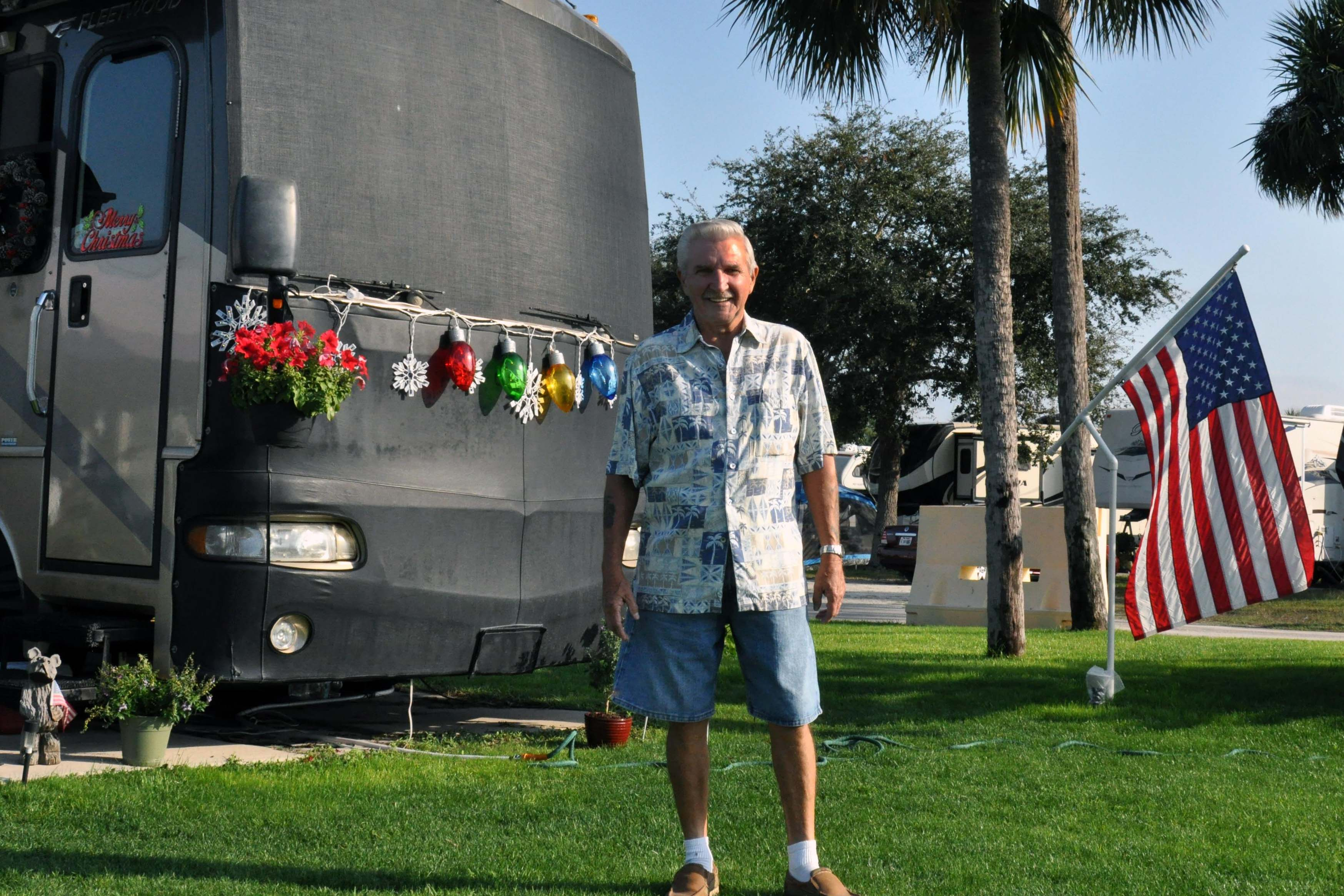 Caption: Rhode Island resident Tom Peters regularly vacations at the MacDill Air Force Base RV park., Credit: Bobbie O'Brien/American Homefront