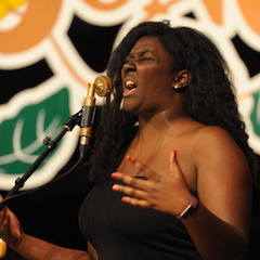 Caption: Joslyn Hampton's powerhouse vocals on the WoodSongs Stage.