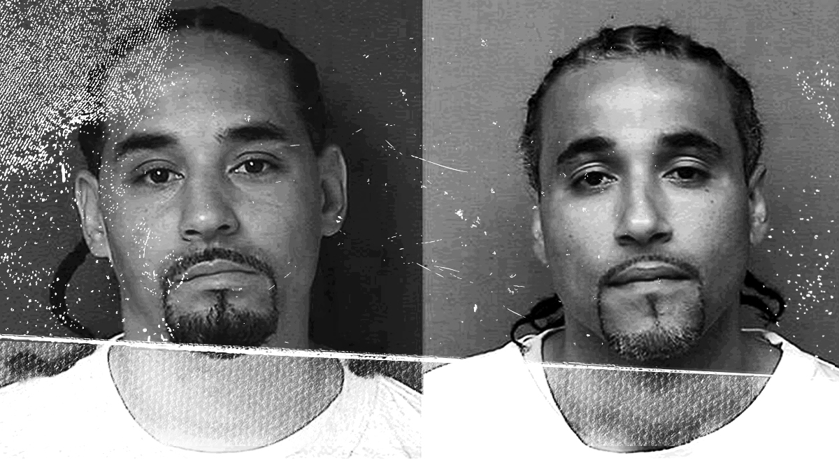 Caption: Prison photos of Ricky Amos (left), and the wrongfully incarcerated Richard Jones (right)
