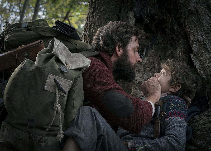 Caption: John Krasinski and Noah Jupe in 'A Quiet Place'