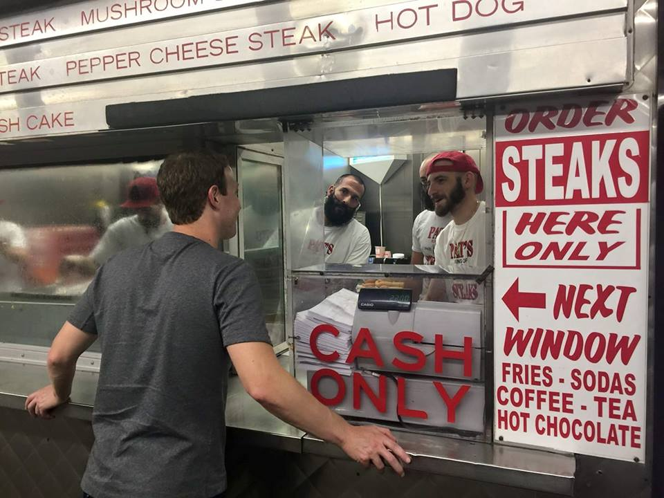 Caption: Mark Zuckerberg at The Original Pat's King of Steaks in Philadelphia (9/24/17). Posted on Mark Zuckerberg's Facebook page.