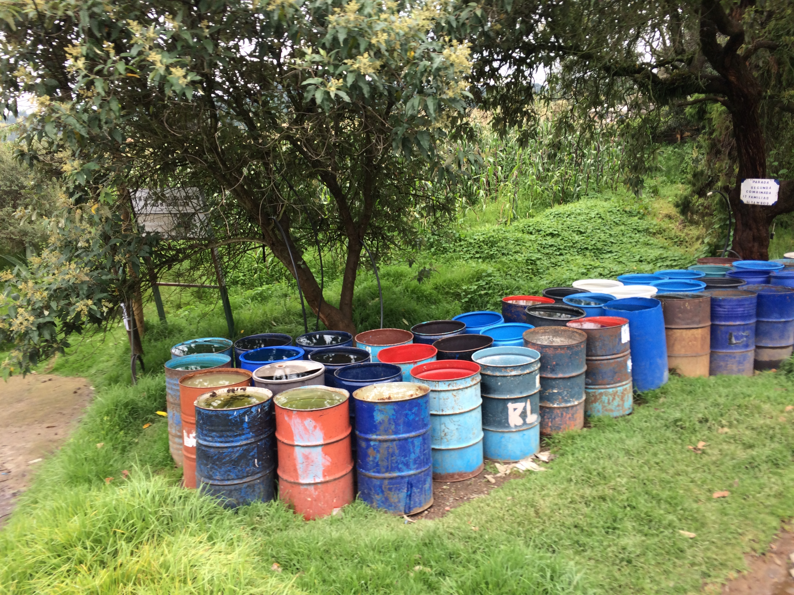 Caption: Water barrels in an indigenous community within the Water Forest. Some residents wait up to two weeks for water trucks to appear., Credit: Maria Doerr