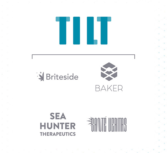 Caption: The 'Tilt' logo is seen above those for its subsidiary companies- Briteside, Baker, Sea Hunter, and Sante Vertias., Credit: Tilt Cannabis
