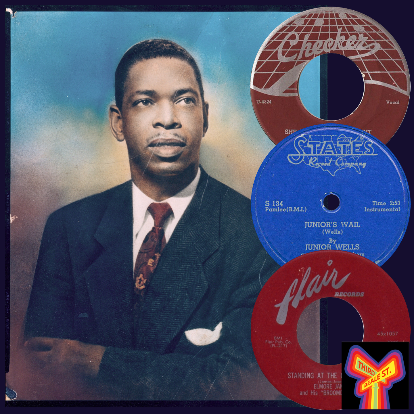Caption: Hand-painted photo of Elmore James courtesy of Blues Unlimited magazine.