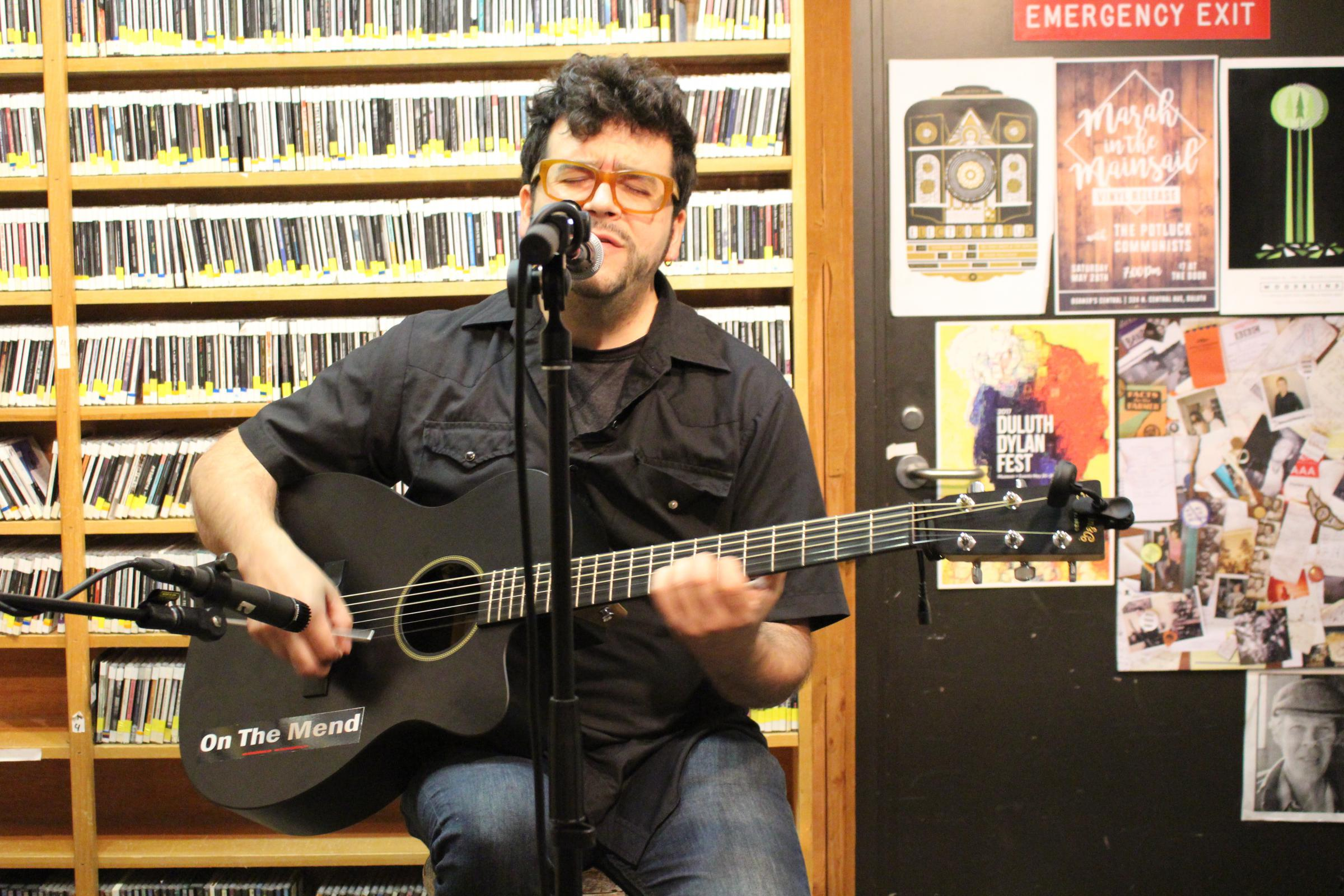 Caption: Mike Michel performing live from Studio A., Credit: Christine Dean