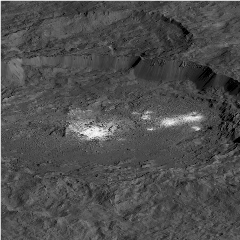 Caption: This simulated perspective view shows Occator Crater, measuring 57 miles (92 kilometers) across and 2.5 miles (4 kilometers) deep, which contains the brightest area on Ceres. This region has been the subject of intense interest since Dawn's approach to th, Credit: NASA/JPL-Caltech/UCLA/MPS/DLR/IDA