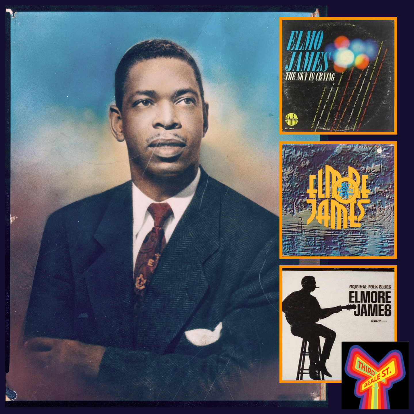 Caption: Hand-painted photo of Elmore James courtesy of Blues Unlimited magazine. Inset: Some LP fan favorites.