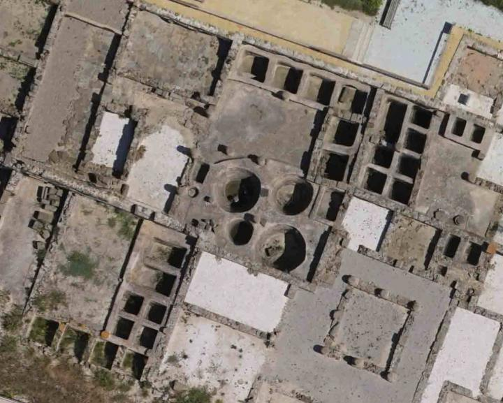 Caption: Aerial view of some of the fish-salting tanks (cetaria) in the ancient Roman city of Baelo Claudia, near today's Tarifa in Spain. , Credit: D. Bernal-Casasola, University of Cadiz