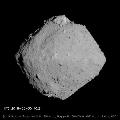 Caption: Asteroid Ryugu imaged by the Hayabusa2 spacecraft, Credit: JAXA