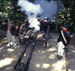 Caption: Cannon firing at encampment, Credit: Jamestown Yorktown Foundation