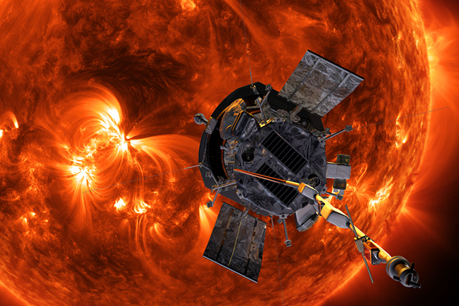 Caption: Illustration of the Parker Solar Probe., Credit: Credits: NASA/Johns Hopkins, APL/Steve Gribben, University of Minnesota College of Science and Engineering