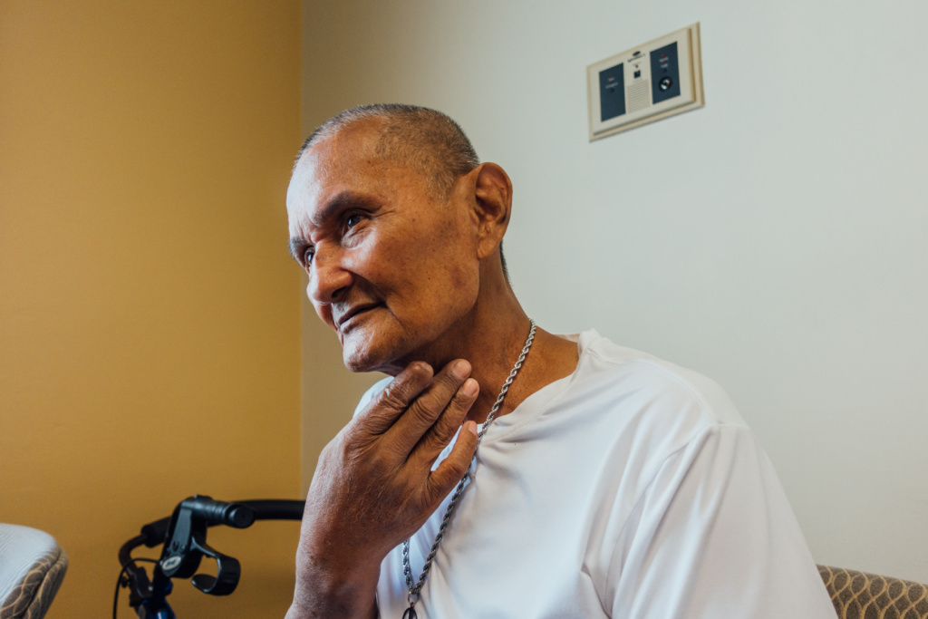 Caption: Army veteran Robert Galang participated in a clinical trial to manage the side effects of chemotherapy and radiation treatment at the Long Beach, Cal. VA., Credit: Libby Denkmann/American Homefront