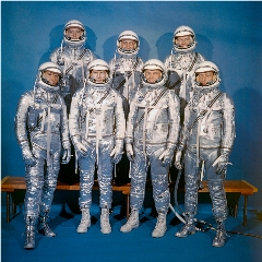 "Caption: America's ""Right Stuff"" men, the Mercury 7 astronauts., Credit: NASA"