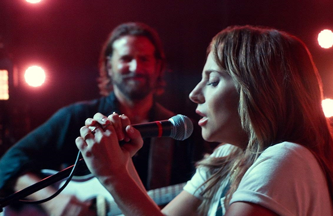 Caption: Bradley Cooper and Lady Gaga in 'A Star Is Born' (2018)