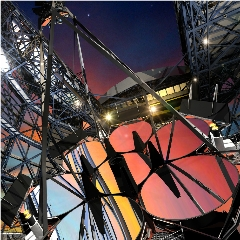 Caption: Artist concept of the Giant Magellan Telescope at sunset, Credit: GMTO