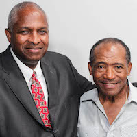Caption: Melvin Pender (right) with his friend, Keith Sims, at their StoryCorps interview in Atlanta last month.