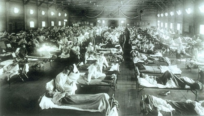 Caption: The 1918 influenza pandemic killed 50 million people., Credit: US Army
