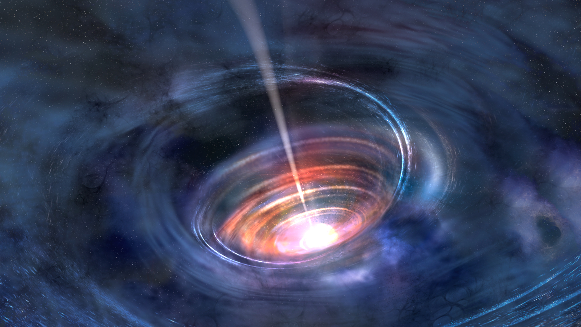 Caption: Super-massive black hole (artist's rendering)., Credit: NASA