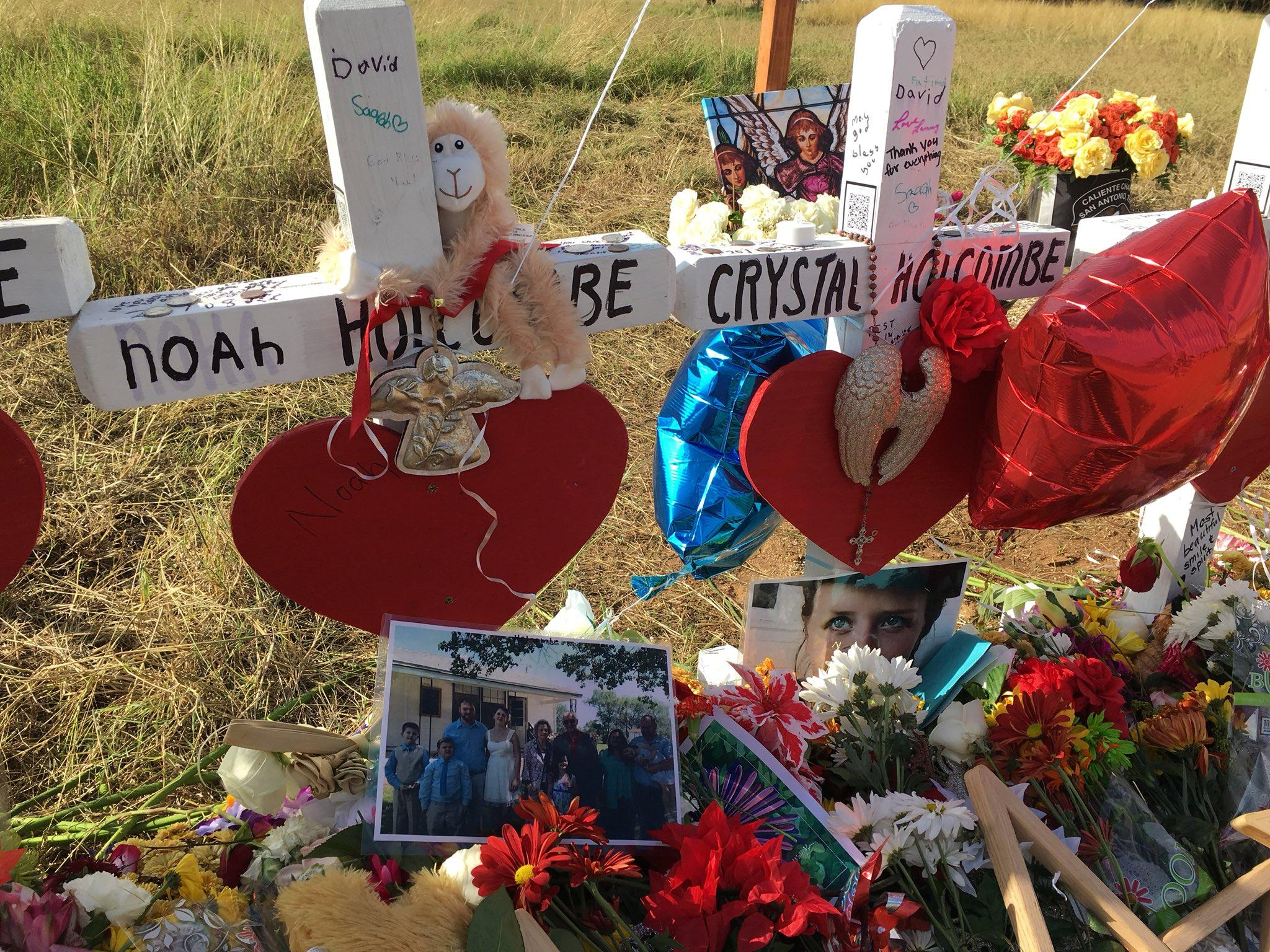 Caption: The Holcombe family, which lost nine members in the Sutherland Springs shooting, has filed a wrongful death claim against the Air Force., Credit:  Joey Palacios / Texas Public Radio