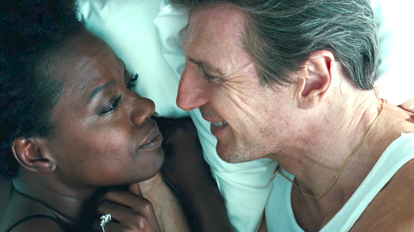 Caption: Viola Davis and Liam Neeson in 'Widows'